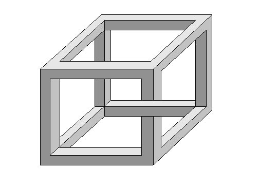 Impossible cube illusion